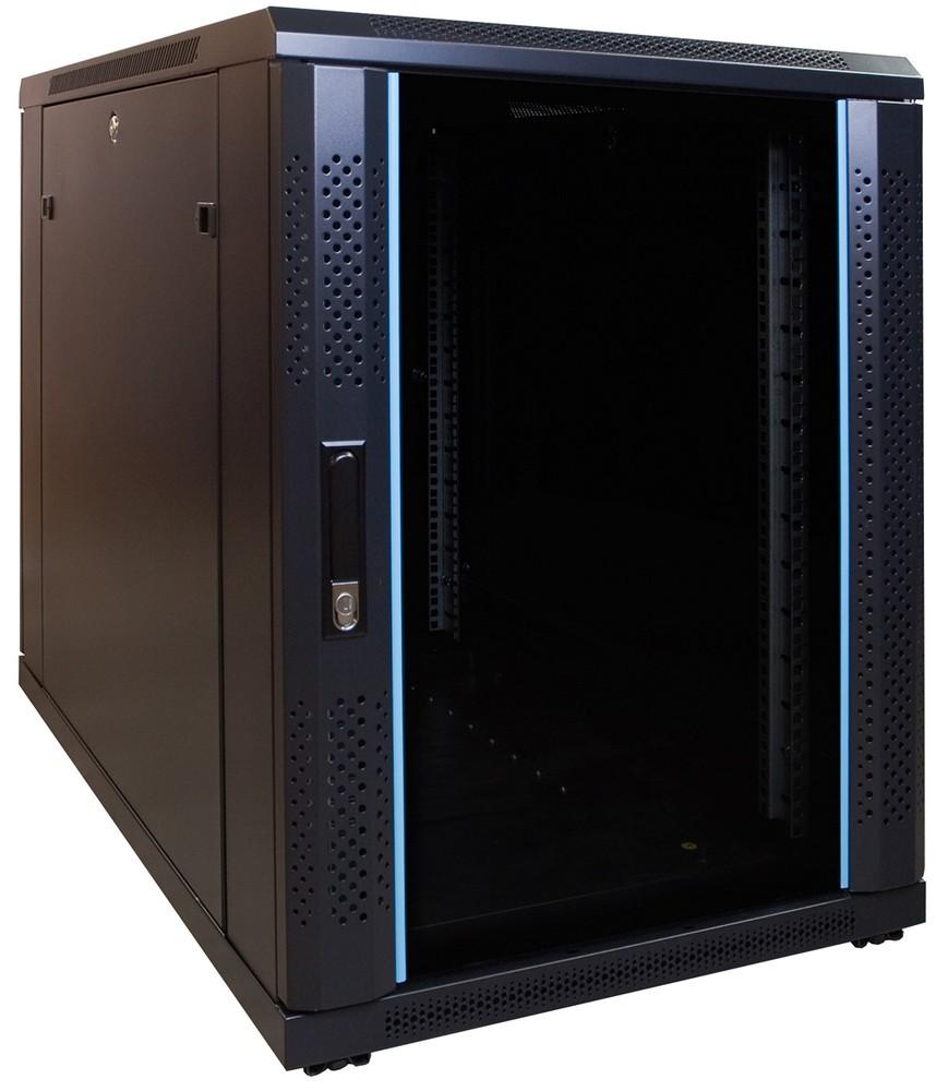 Afbeelding van 15U mini Patchkast met glazen deur 600x1000x770mm (BxDxH)