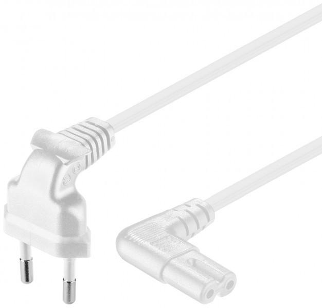 Afbeelding van Stroomkabel haaks euro plug naar C7 1m wit