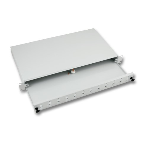 """Afbeelding van 19""""patchpaneel LC/SC/E2000 ongemonteerd 12 poorts uitschuifbaar lichtgrijs"""