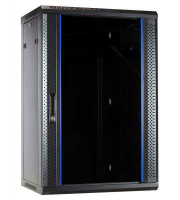 18U Wandkast met glazen deur 600x450x900mm