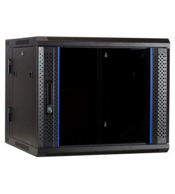 9U wandkast - kantelbaar met glazen deur 600x600x500mm