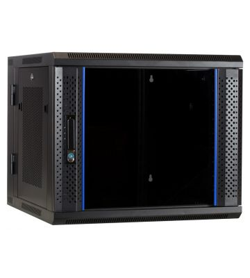 9U wandkast - kantelbaar met glazen deur en geperforeerde zijwanden 600x600x500mm