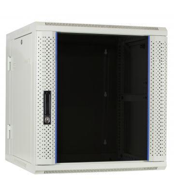 12U witte wandkast - kantelbaar met glazen deur 600x600x635mm
