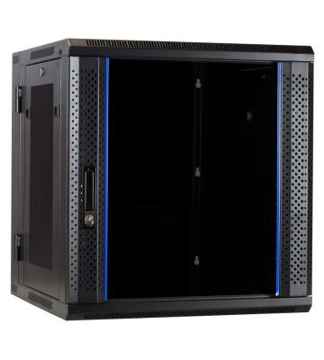 12U wandkast - kantelbaar met glazen deur en geperforeerde zijwanden 600x600x635mm