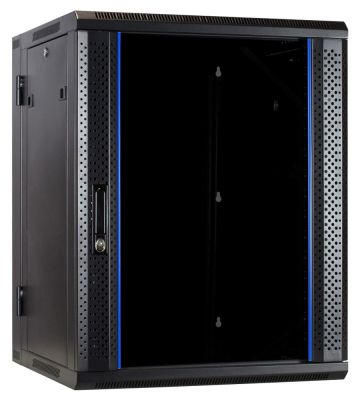 15U wandkast - kantelbaar met glazen deur 600x600x770mm