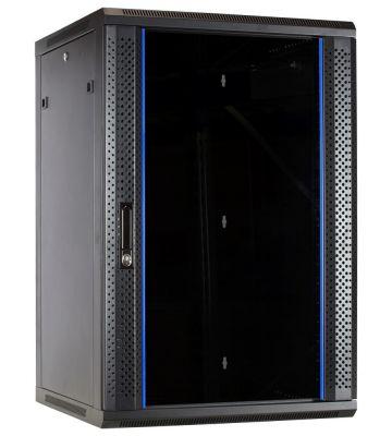 18U Wandkast met glazen deur 600x600x900mm (BxDxH)
