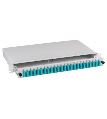 """OM3 19"""" patchpaneel SC duplex 24 poorts uitschuifbaar lichtgrijs"""