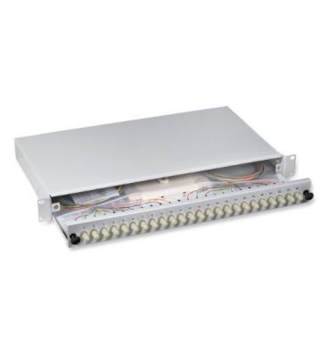 """OM3 19"""" patchpaneel ST duplex 24 poorts uitschuifbaar lichtgrijs"""