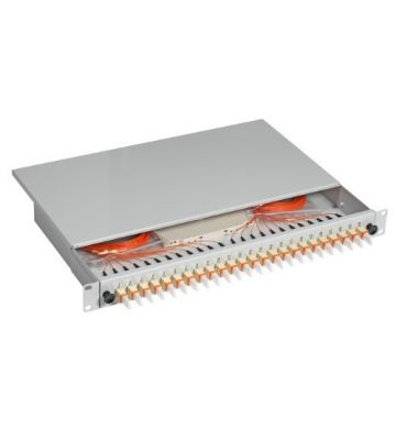 """OM3 19"""" patchpaneel E2000 duplex 24 poorts uitschuifbaar lichtgrijs"""