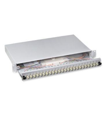 """OM4 19"""" patchpaneel ST duplex 24 poorts uitschuifbaar lichtgrijs"""