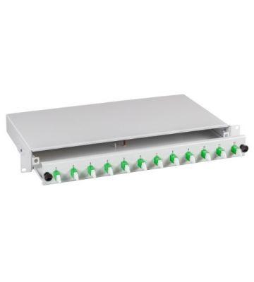 """OS2 19"""" patchpaneel E2000 duplex 12 poorts uitschuifbaar lichtgrijs"""