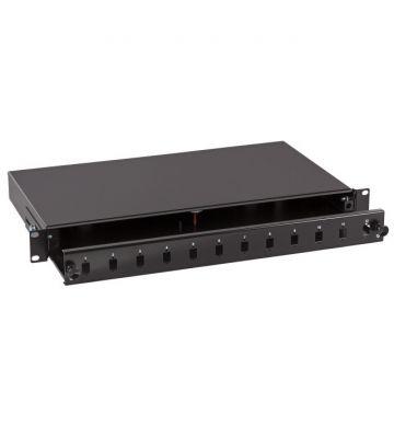 """19""""patchpaneel LC/SC/E2000 ongemonteerd 12 poorts uitschuifbaar zwart"""