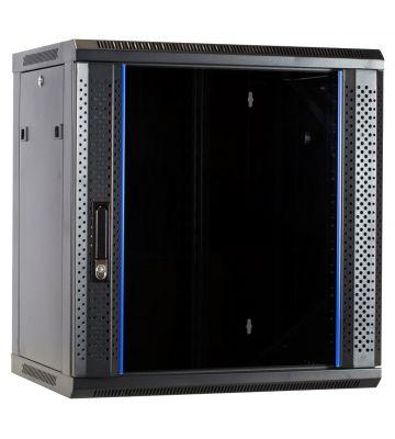12U Wandkast ongemonteerd met glazen deur 600x450x635mm