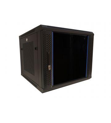 9U wandkast met glazen deur - geperforeerde zijpanelen 600x600x500mm (BxDxH)
