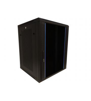 15U wandkast met glazen deur - geperforeerde zijpanelen 600x600x770mm (BxDxH)