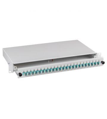 """OM3 19"""" patchpaneel LC duplex 24 poorts uitschuifbaar lichtgrijs"""