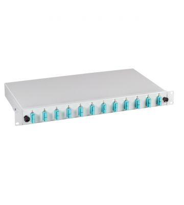 """OM3 19"""" patchpaneel SC duplex 12 poorts uitschuifbaar lichtgrijs"""