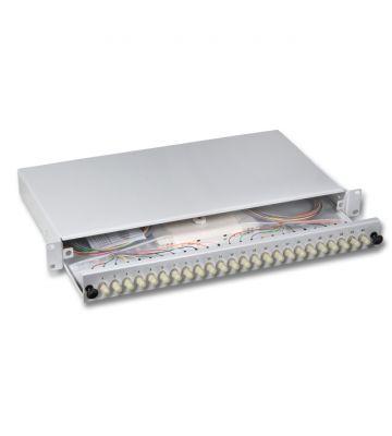 """OM3 19"""" patchpaneel ST duplex 12 poorts uitschuifbaar lichtgrijs"""