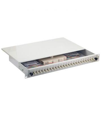 """OS2 19"""" patchpaneel ST duplex 24 poorts vast lichtgrijs"""