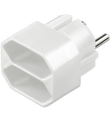 Stroom adapter 2x europlug wit