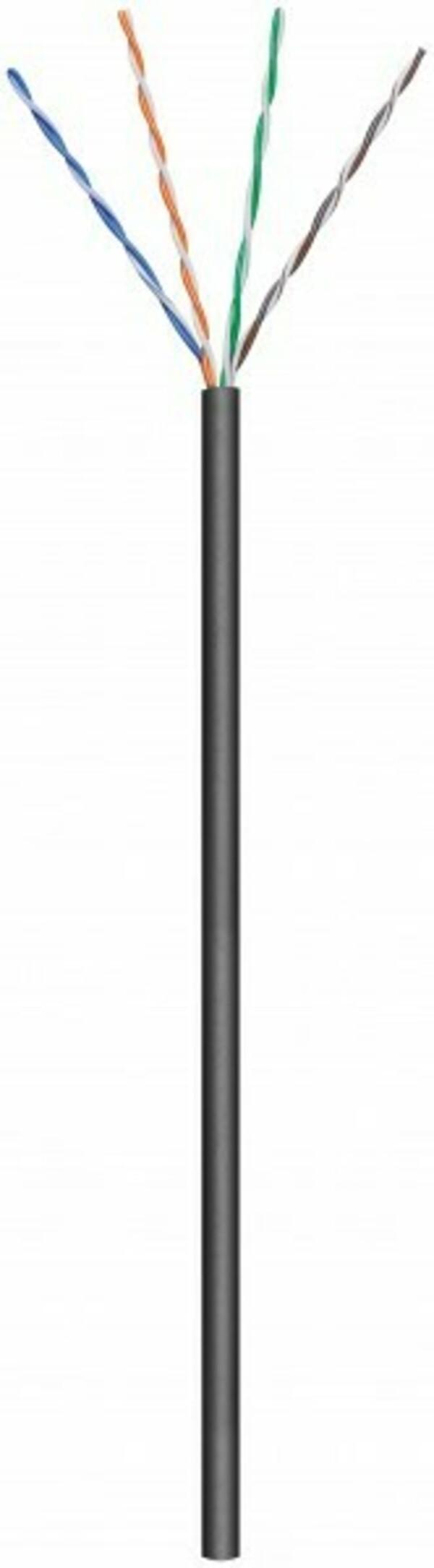 Afbeelding van CAT5e U/UTP 100m buitenkabel op rol soepel zwart CCA